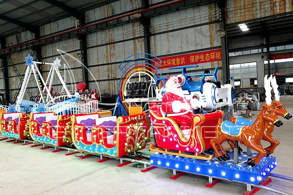 Christmas Train Rides for Sale Displayed in Dinis Plant