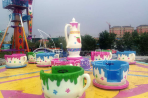 Colorful Fairground Cup Amusement Rides Displayed in Jinshan's Exhibition Hall