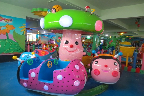 Mini Ladybug Park Rides for Sale at Lowest Price Displayed in Recreation Center